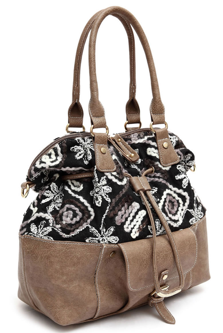Two Tone Zipper Accented Top Handle Satchel Bag With Strap