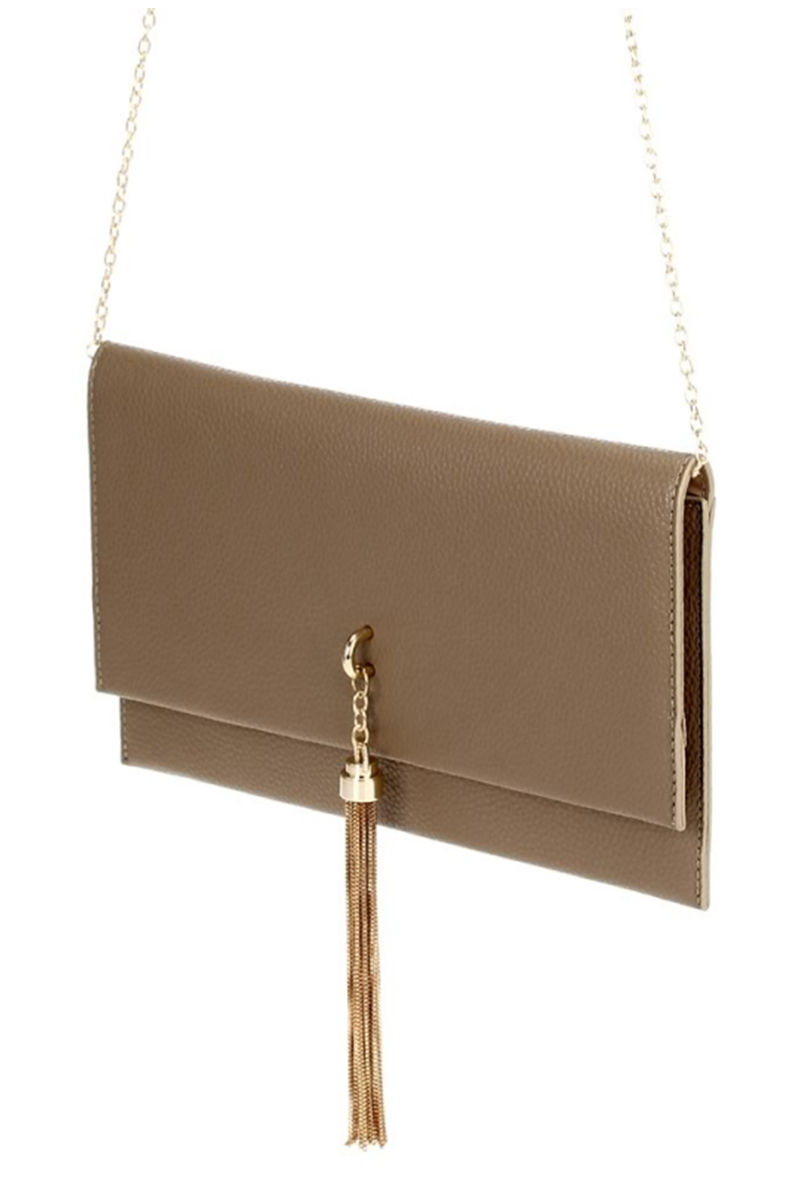 Solid Double Flap Over Clutch With Strap - Agp Handbags