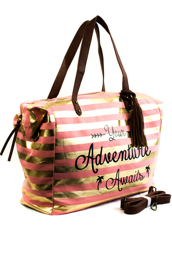Restocked Adventure Worded Overnight Duffle Bag With Tassels