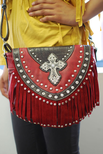 Western Style Cross Rhinestones and Fringed Deco Messenger Bag