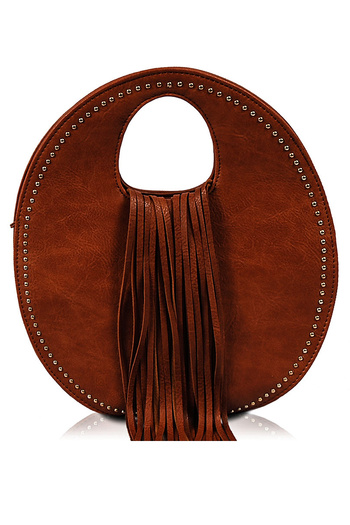 Tassels And Studs Round Shape Bag With Strap - Agp Handbags   Apparel