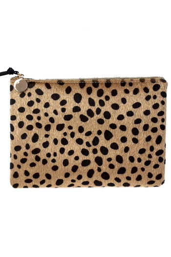 Leopard Synthetic Fur Design with Chain Strap Clutch Bag