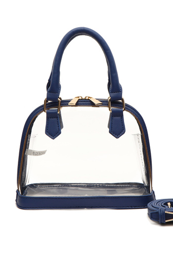Clear With Color Trim Satchel Bag With Strap