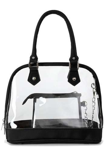 Clear See Through Attached Pocket Satchel Bag