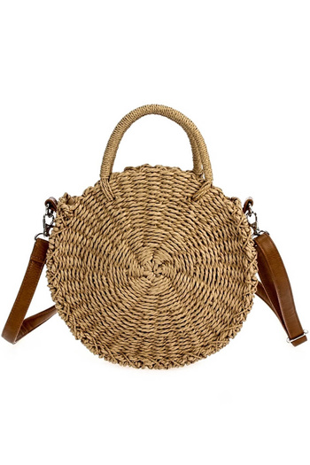 Straw Round Shape Mid Size Messenger With Handle And Strap