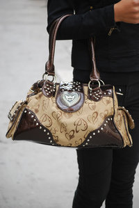 Heart Print Rhinestones Deco Side Pockets With Shoulder Strap Hobo Handbag