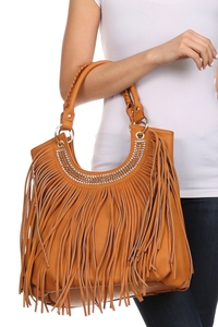 Restocked Premium Fringe Rhinestones and Studs Deco Tote Bag