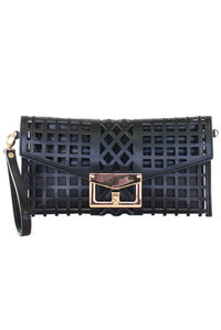 Premium Laser Cut Deco High Quality PU with Chain Strap Clutch Bag