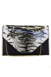 RESTOCK Luxury High End Tiger Flap Over Envelope Style with Chain Strap Clutch Bag