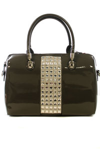 Shinny Center Rhinestones Accented With Metal Trim PVC Satchel Bag