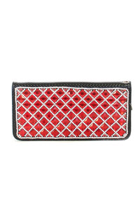 Restock Premium High End Rhinestones and Stones Zip Around Clutch Wallet