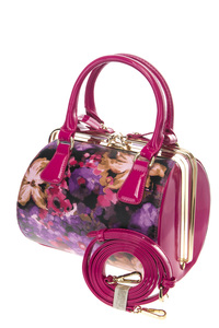 Shinny Patent Structure Flower Print Hardware Satchel Bag with Strap