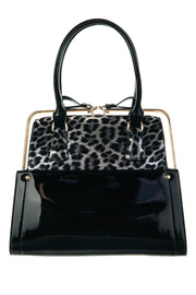 Leopard Print And Shinny Accented Metal Frame Satchel Bag With Strap