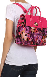 Flower Printed Shinny PVC Trim Accented Turn Lock Satchel With Strap