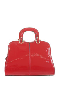 Shinny Patent Structure Hardware Satchel Bag with Strap