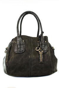Classic Three Compartment Croco Detail with Shoulder Strap Hobo Bag