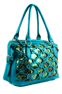 Double Front See Through and Print Layer Rhinestone Hobo Bag