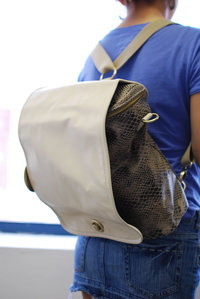 Premium Snake Print Backpack with PU Flap Convertible to Messenger Bag
