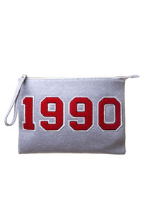 1990 Patch Embroidery College Style with Wrist Strap Cotton Clutch