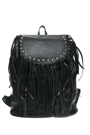Double Front Zipper Pockets Fringed And Studded Flap Over Closure Backpack