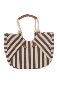 Stripe Canvas Knot Handle Accented Satchel Bag With Strap