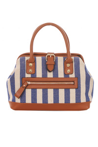 Stripe Canvas Mini Weekender Messenger Bag