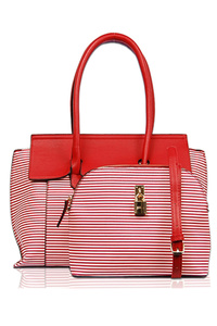 Two In One Stripe Accented Satchel With Messenger Bag