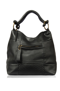 Solid Studs Zipper Pull Accented Hobo Bag With Single Handle Bag