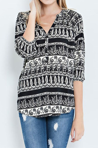 An abstract stripe pattern print rayon china collar shirt with roll up sleeves