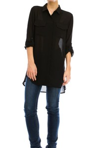 BUTTONS DOWN CHIFFON SHIRT WITH HIGH AND LOW.