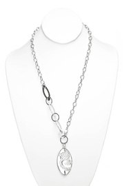 Premium Long Chain Oval Ring Accented Necklace