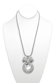 Premium Long Chain Dew Drop Ribbon Accented Necklace