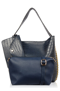 Three In One Crocodile Single Handle Tote, Pouch And Clutch