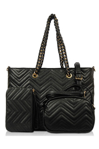 Three In One Chevron Pattern Tote, Messenger And Wallet