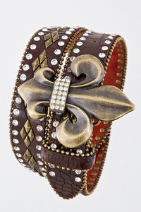 Genuine Leather Fleur de Lis Rhinestones Belts