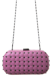 Premium Hard Case Quilted Studs with Chain Strap Clutch