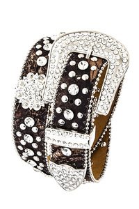 Rhinestone Flower And Camouflage Print Accented High End Belt