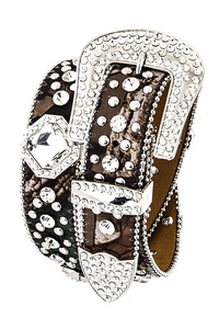 Rhinestone Diamonds And Camouflage Print Accented High End Belt