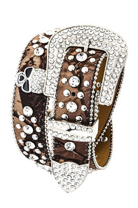 Rhinestone Skulls And Camouflage Print Accented High End Belt