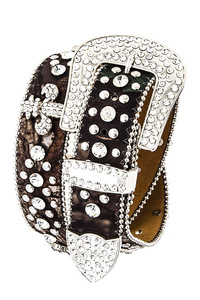 Rhinestone Fleur De Lis And Camouflage Print Accented High End Belt