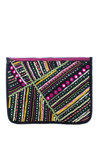 Hand Made Bohemian Indian Embroidery Sequins Mini Bead and Tread Large Size Clutch Bag