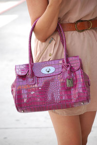 Crocodile Skin Looking Shinny PU Satchel Handbag