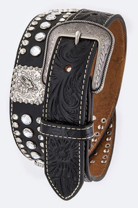 Men's Rhinestone Cow Boy Emboss Accented High End Belt