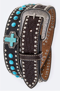 Men's Rhinestone & Blue Stone With Cross Accented High End Belt
