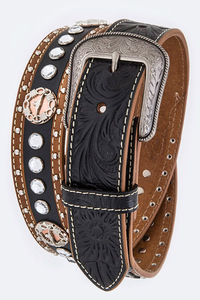 Men's  Rhinestone And Bull Two Tone Accented High End Belt