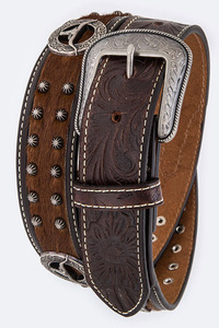 Men's Studs And Symbolic Emboss Accented High End Belt