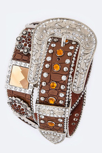 Rhinestone Diamonds And Flower Accented High End Belt
