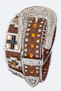 Rhinestone Square And Cross Accented High End Belt