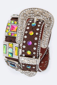 Color Rhinestones With Square Accented High End Belt