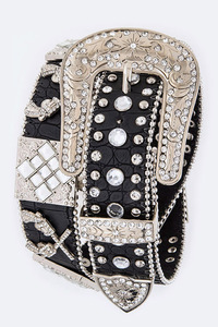 Rhinestones Square And Gun Accented High End Belt